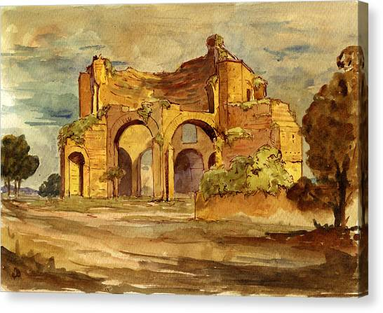 Temples Canvas Print - Temple Of Minerva Rome by Juan  Bosco