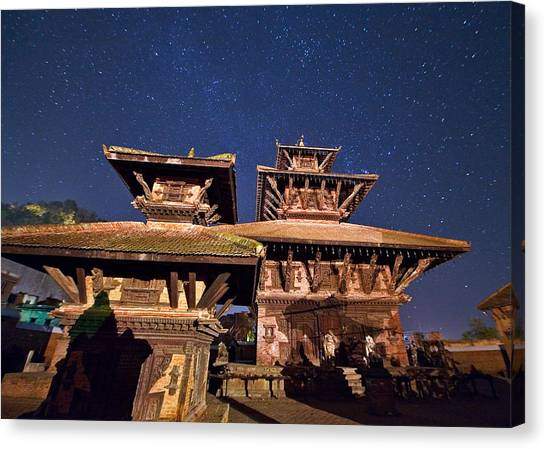 Temple Of Panauti Canvas Print by Babak Tafreshi/science Photo Library