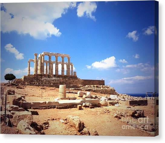 Temple Of Poseidon Vignette Canvas Print