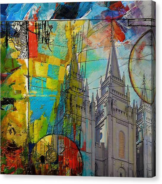 University Of Chicago Canvas Print - Temple Square At Salt Lake City by Corporate Art Task Force