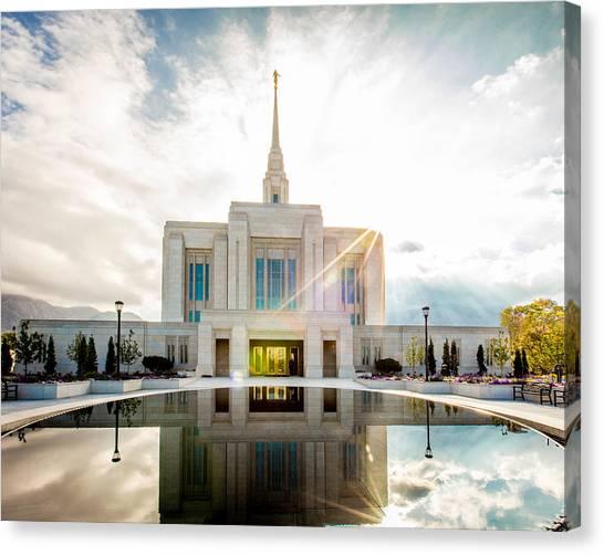 Mormon Canvas Print - Temple Sunburst 5 X 4 Format by Scott Law