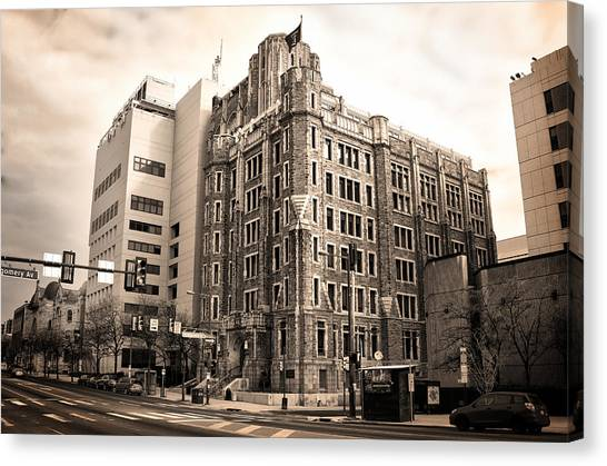 Temple University Canvas Print - Temple University In Sepia by Bill Cannon