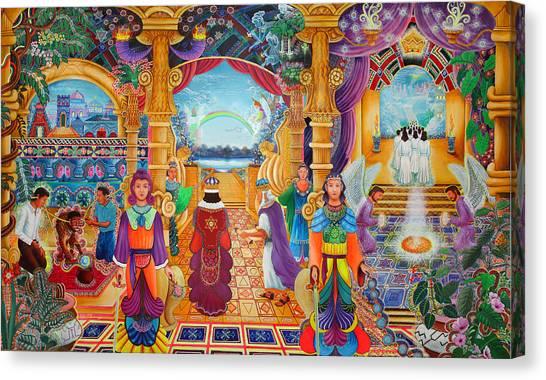 Canvas Print featuring the painting Templo Sacrosanto by Pablo Amaringo