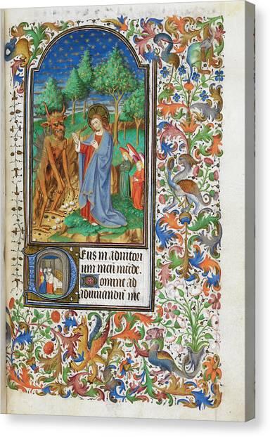 Satan Canvas Print - Temptation Of Christ by British Library