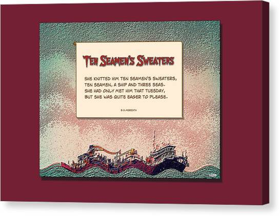 Ten Seamen's Sweaters Canvas Print by Brian D Meredith