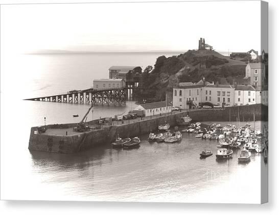 Tenby Harbour And Castle Hill Vignette Canvas Print