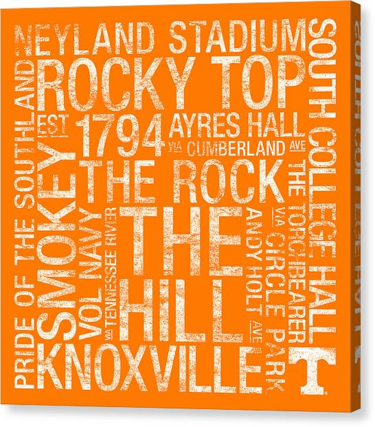 The University Of Tennessee Canvas Print - Tennessee College Colors Subway Art by Replay Photos