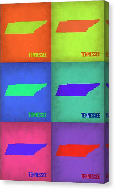 Tennessee Canvas Print - Tennessee Pop Art Map 1 by Naxart Studio