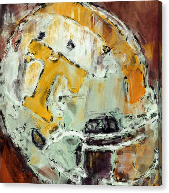 Gridiron Canvas Print - Tennessee Volunteers Helmet Abstract by David G Paul