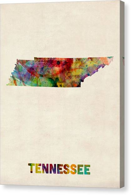 Tennessee Watercolor Map Canvas Print by Michael Tompsett