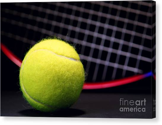 Tennis Ball Canvas Print - Tennis Ball And Racket by Olivier Le Queinec