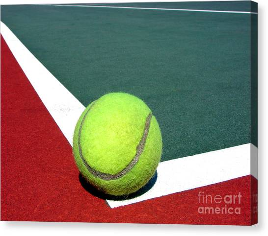 Tennis Pros Canvas Print - Tennis Ball On Court by Olivier Le Queinec