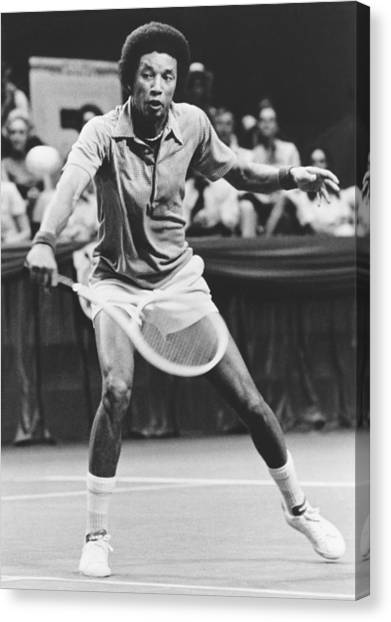 Tennis Racquet Canvas Print - Tennis Champion Arthur Ashe by Underwood Archives
