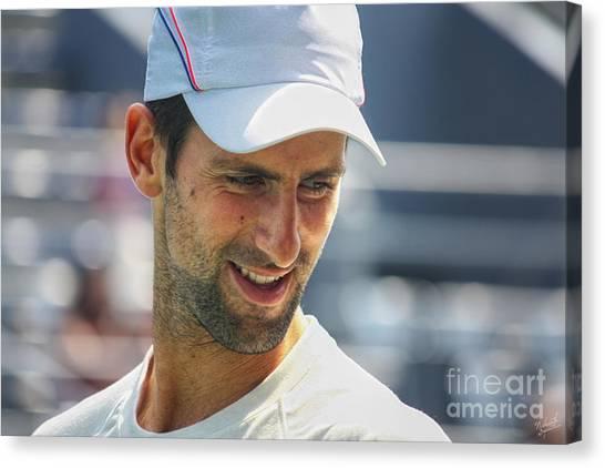 Tennis Pros Canvas Print - Tennis Champion Novak Djokovic by Nishanth Gopinathan