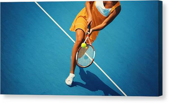Tennis Game. Canvas Print by Gilaxia