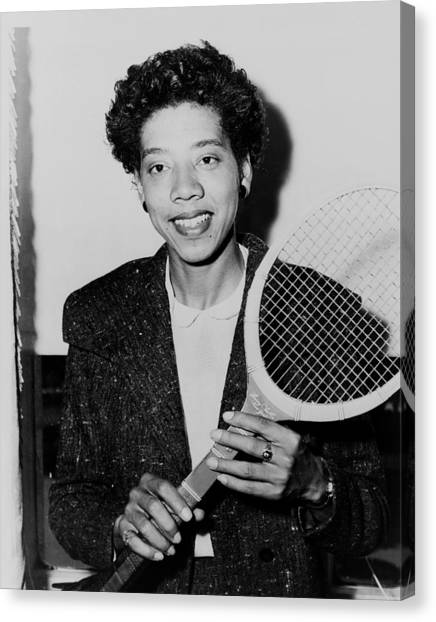 Tennis Racquet Canvas Print - Tennis Great Althea Gibson 1956 by Mountain Dreams