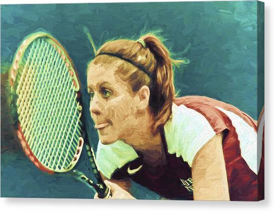 Indiana University Iu Canvas Print - Tennis Iupui Digitally Painted Dh by David Haskett