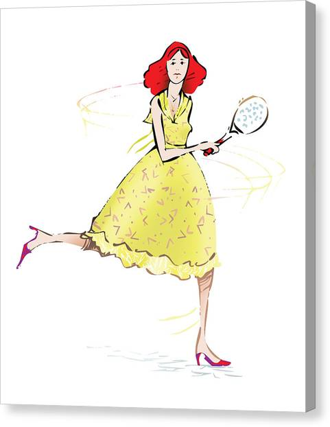 Tennis Racquet Canvas Print - Tennis Lady by Ch' Brown