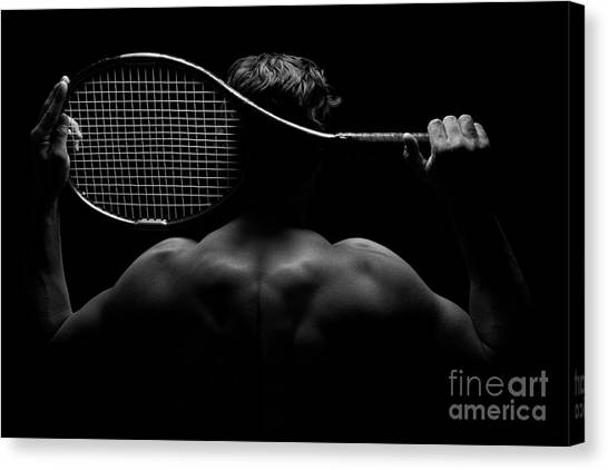 Tennis Player And His Racket Canvas Print