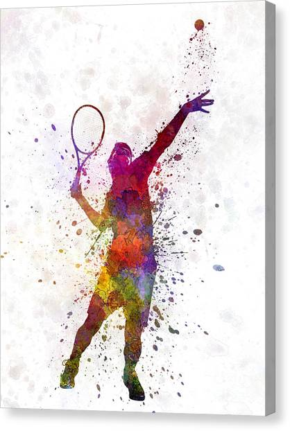 Tennis Players Canvas Print - Tennis Player At Service Serving Silhouette 01 by Pablo Romero