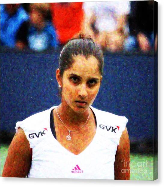 Tennis Pros Canvas Print - Tennis Player Sania Mirza by Nishanth Gopinathan