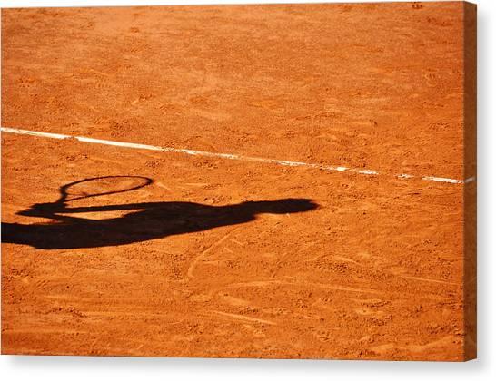 Tennis Player Shadow On A Clay Tennis Court Canvas Print