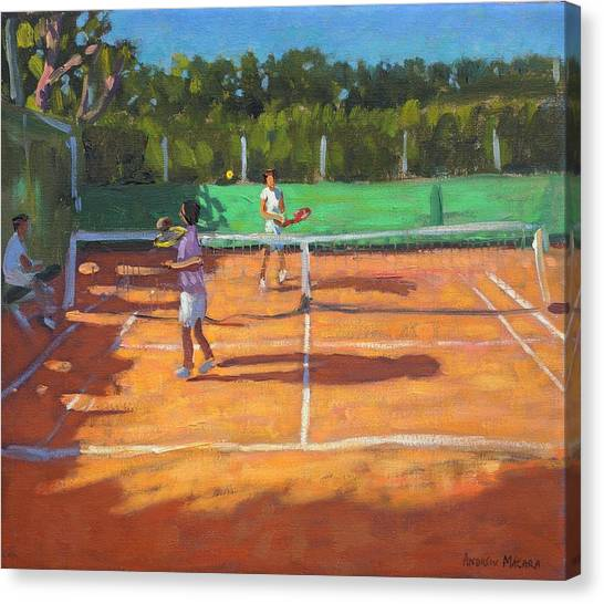 Tennis Ball Canvas Print - Tennis Practice by Andrew Macara
