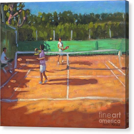 Tennis Racquet Canvas Print - Tennis Practice by Andrew Macara