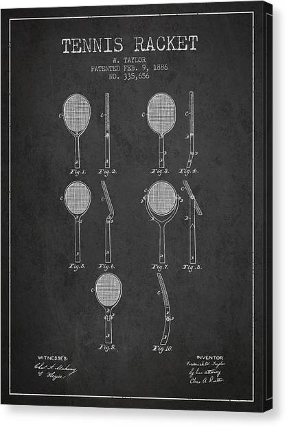 Tennis Players Canvas Print - Tennis Racket Patent From 1886 - Charcoal by Aged Pixel