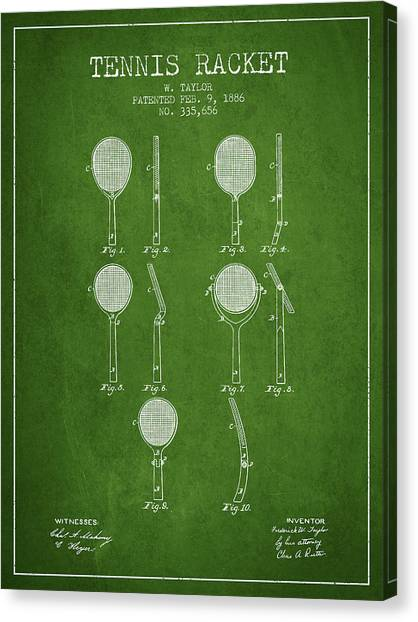 Tennis Players Canvas Print - Tennis Racket Patent From 1886 - Green by Aged Pixel
