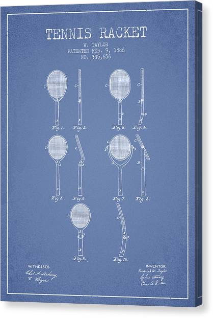 Tennis Players Canvas Print - Tennis Racket Patent From 1886 - Light Blue by Aged Pixel