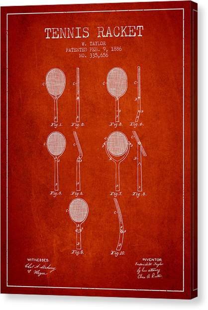 Tennis Players Canvas Print - Tennis Racket Patent From 1886 - Red by Aged Pixel