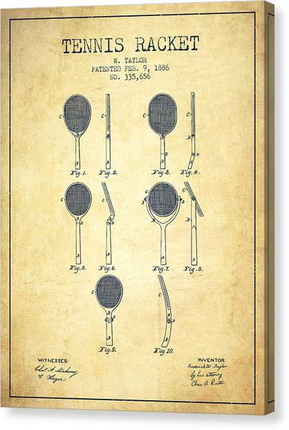 Tennis Players Canvas Print - Tennis Racket Patent From 1886 - Vintage by Aged Pixel
