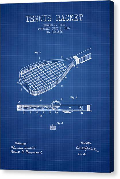Tennis Players Canvas Print - Tennis Racket Patent From 1887 - Blueprint by Aged Pixel