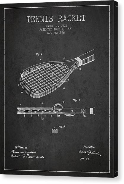 Tennis Players Canvas Print - Tennis Racket Patent From 1887 - Charcoal by Aged Pixel