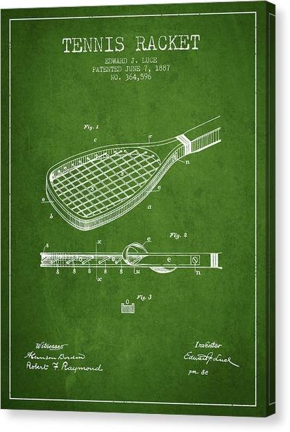 Tennis Players Canvas Print - Tennis Racket Patent From 1887 - Green by Aged Pixel