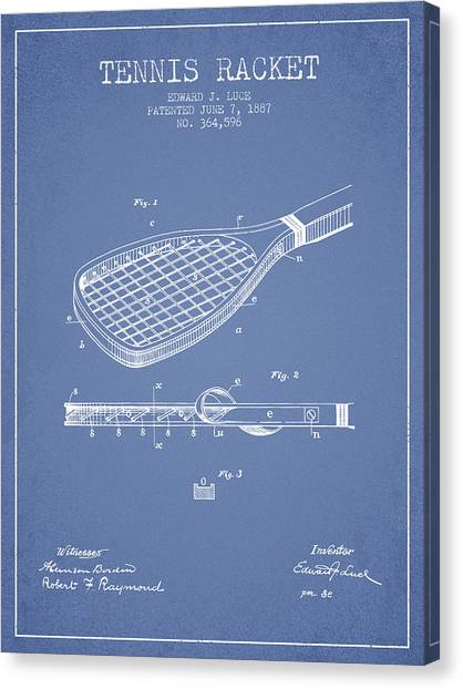 Tennis Players Canvas Print - Tennis Racket Patent From 1887 - Light Blue by Aged Pixel