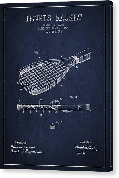 Tennis Players Canvas Print - Tennis Racket Patent From 1887 - Navy Blue by Aged Pixel