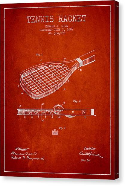 Tennis Players Canvas Print - Tennis Racket Patent From 1887 - Red by Aged Pixel