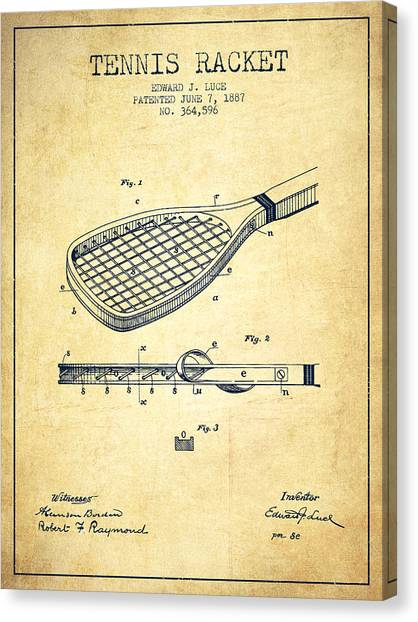 Tennis Players Canvas Print - Tennis Racket Patent From 1887 - Vintage by Aged Pixel