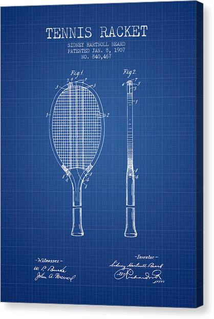 Tennis Players Canvas Print - Tennis Racket Patent From 1907 - Blueprint by Aged Pixel