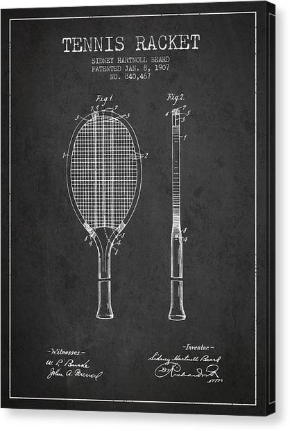 Tennis Players Canvas Print - Tennis Racket Patent From 1907 - Charcoal by Aged Pixel