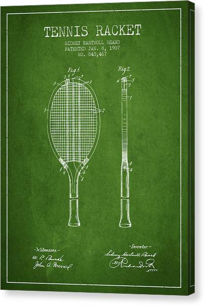 Tennis Players Canvas Print - Tennis Racket Patent From 1907 - Green by Aged Pixel