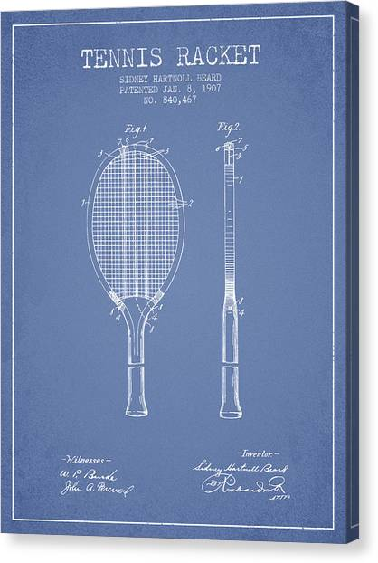 Tennis Players Canvas Print - Tennis Racket Patent From 1907 - Light Blue by Aged Pixel