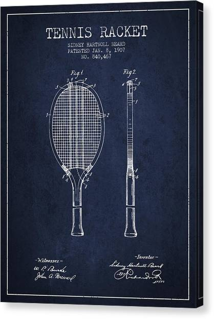 Tennis Players Canvas Print - Tennis Racket Patent From 1907 - Navy Blue by Aged Pixel