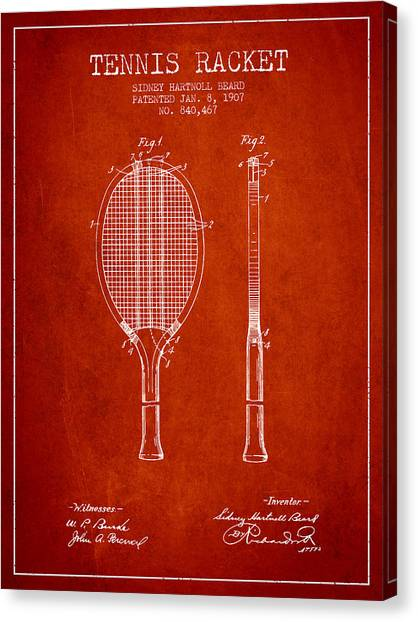 Tennis Players Canvas Print - Tennis Racket Patent From 1907 - Red by Aged Pixel