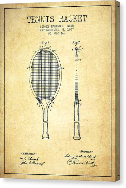 Tennis Players Canvas Print - Tennis Racket Patent From 1907 - Vintage by Aged Pixel