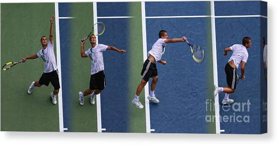 Tennis Pros Canvas Print - Tennis Serve By Mikhail Youzhny by Nishanth Gopinathan