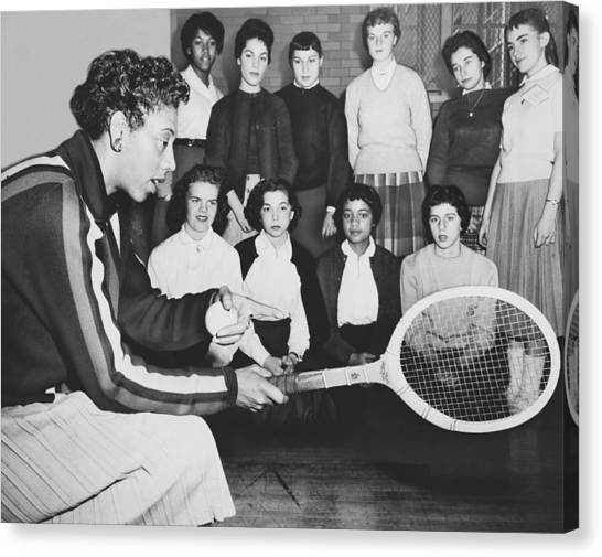 Tennis Racquet Canvas Print - Tennis Star Althea Gibson by Ed Ford