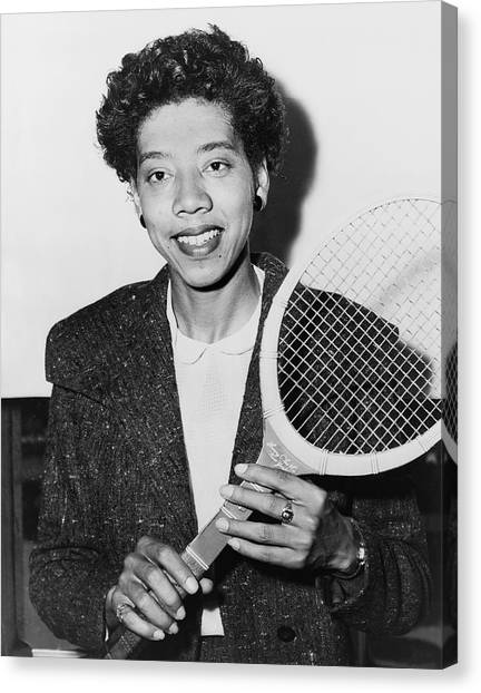 Tennis Racquet Canvas Print - Tennis Star Althea Gibson by Fred Palumbo